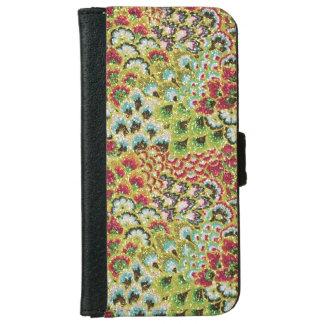 きらびやかな秋の花柄のタペストリー iPhone 6/6S ウォレットケース