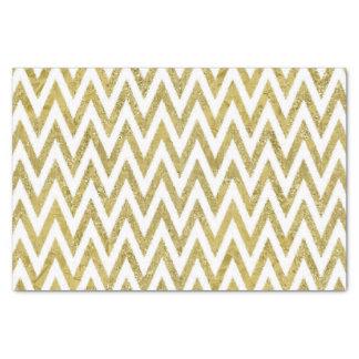 きらびやかな金ゴールドおよび白いシェブロンは縞で飾ります 薄葉紙