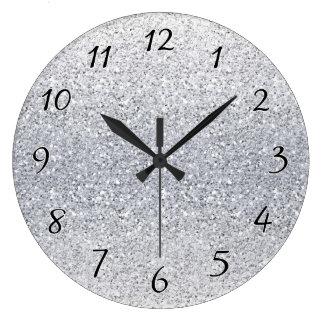 きらびやかな銀製のグラデーション ラージ壁時計