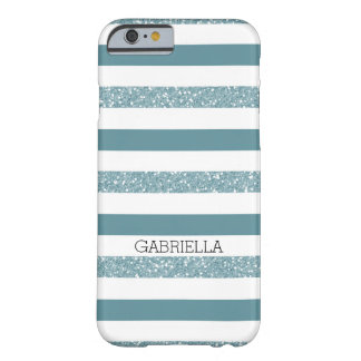 きらびやかな青いティール(緑がかった色)は縞で飾ります BARELY THERE iPhone 6 ケース