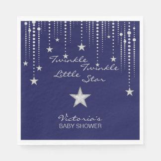 きらめきのきらめき少し星のナプキン-青、銀 スタンダードランチョンナプキン