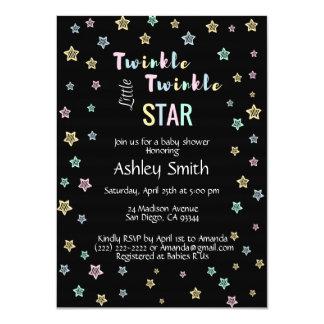 きらめきのきらめき少し星のベビーシャワーの招待状 カード