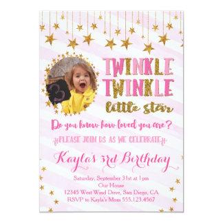 きらめきのきらめき少し星の誕生日の招待状2 カード