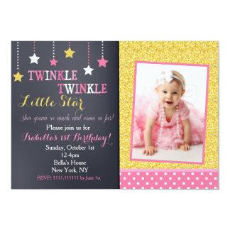 きらめきのきらめき少し星の誕生日の招待状 カード