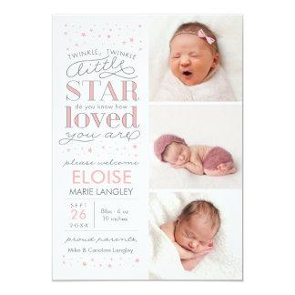 きらめきの数々のな写真の女の赤ちゃんの誕生の発表 カード