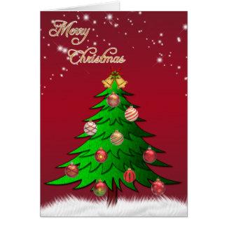 きらめきの星のクリスマスツリーの挨拶状 カード