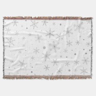 きらめきの雪片-銀製灰色及び白 スローブランケット