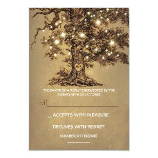 きらめきは木素朴な結婚RSVPのカードをつけます カード