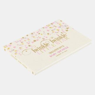 きらめき少し星のベビーの金ゴールドのピンククリーム女の子 ゲストブック
