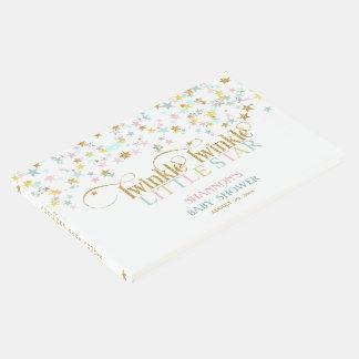 きらめき少し星のベビーの金ゴールドの水のピンク ゲストブック
