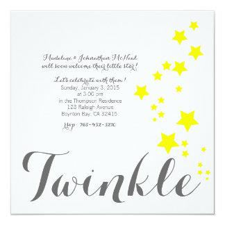 きらめき少し星のベビーシャワーの招待 カード