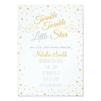 きらめき少し星の招待状のベビーシャワーの金ゴールド カード