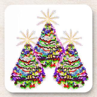 きらめくで抽象的なクリスマスツリーのデザイン コースター