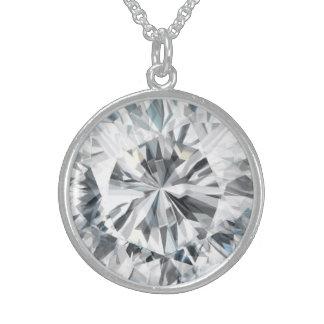 きらめくなダイヤモンドの質4月Birthstone スターリングシルバーネックレス