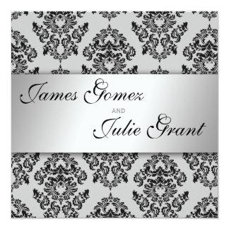 きらめくなダマスク織の結婚式招待状 カード