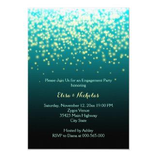 きらめくなライトティール(緑がかった色)の結婚式の婚約パーティ 12.7 X 17.8 インビテーションカード