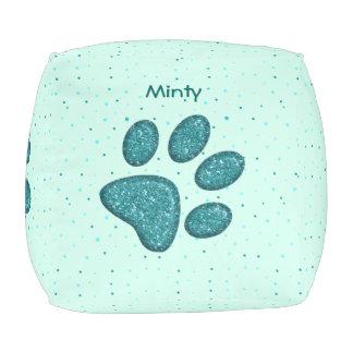 きらめくな猫の足のプリント-ミント プーフ