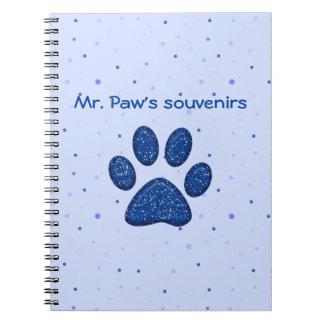 きらめくな猫の足のプリント-青 ノートブック