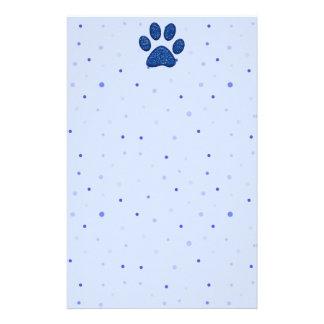 きらめくな猫の足のプリント-青 便箋