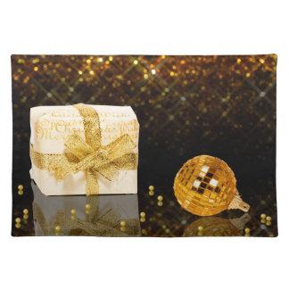 きらめくな金クリスマス-布のランチョンマット ランチョンマット
