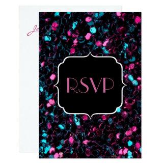 きらめくカラフルなピンクの青いモザイク菓子16 RSVP カード