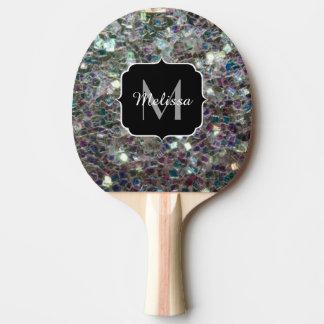 きらめくカラフルな銀製のモザイクモノグラム 卓球ラケット