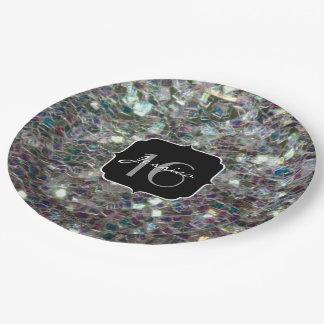 きらめくカラフルな銀製のモザイク菓子16 ペーパープレート