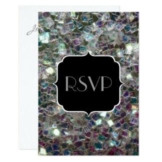 きらめくカラフルな銀製のモザイク菓子16 RSVP カード