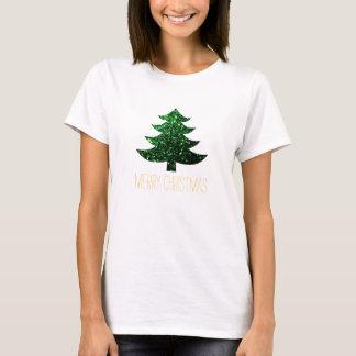 きらめくクリスマスツリーの緑の輝きをカスタマイズ Tシャツ