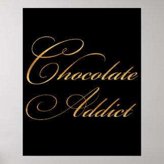 きらめくチョコレート常習者の引用文の金ゴールドの模造のなホイル ポスター