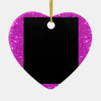 きらめくピンクのグリッターフレームとのガーリーで魅力的な黒 セラミックオーナメント