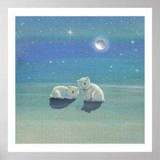 きらめく冬の白くまのカブスポスタープリント ポスター
