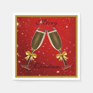 きらめく快活なシャンペンフルートのクリスマス スタンダードカクテルナプキン