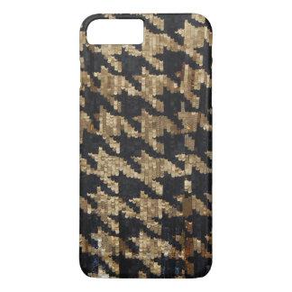 きらめく金ゴールドおよび黒いスパンコールのプリント iPhone 8 PLUS/7 PLUSケース