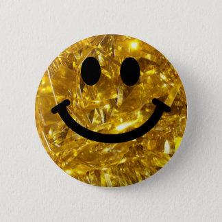 きらめく金ゴールドのきらきら光るなスマイリー 5.7CM 丸型バッジ