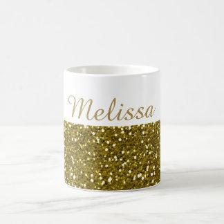 きらめく金ゴールドのグリッターの名前をカスタムする コーヒーマグカップ