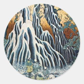きりふりの滝、北斎Kirifuriは、Hokusai、Ukiyo-e落ちます ラウンドシール
