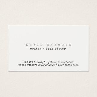 きれいで及びミニマルな基本的な白人の作家/本編集者 名刺