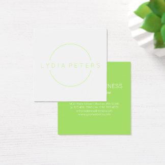 きれいなライムグリーン及び白| スクエア名刺