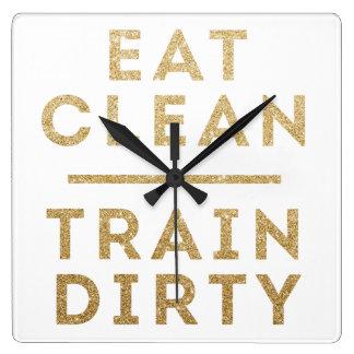 きれいな列車の汚れた金ゴールドのグリッターの柱時計を食べて下さい スクエア壁時計