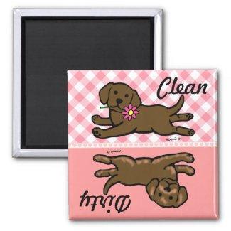 きれいな/汚れたチョコレートラブラドルの子犬 磁石