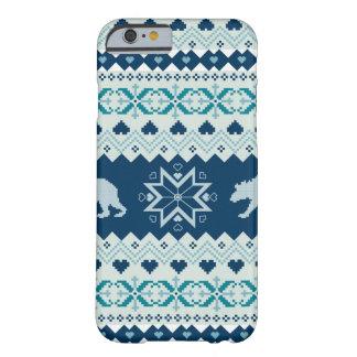 くまが付いている編まれた冬パターン BARELY THERE iPhone 6 ケース