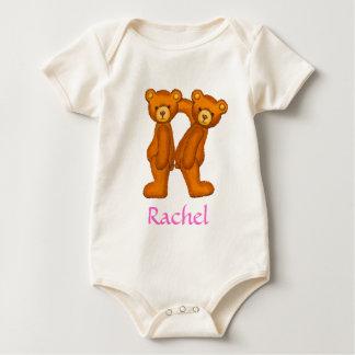 くまのアルファベットの手紙R Initial~Custom Name~Shirt ベビーボディスーツ