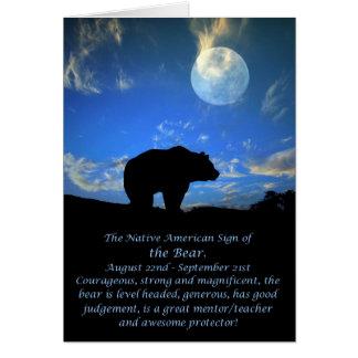 くまのネイティブアメリカンの(占星術の)十二宮図の印 カード