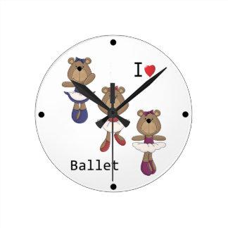 くまのバレエ ラウンド壁時計