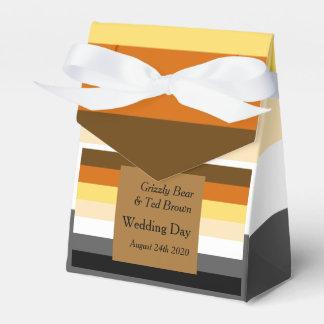 くまのプライドの旗の金ゴールドの陽気な結婚式の引き出物箱 フェイバーボックス