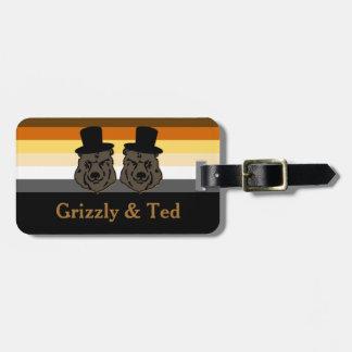 くまのプライドの黒及び金ゴールドの陽気な新婚旅行の荷物のラベル ラゲッジタグ