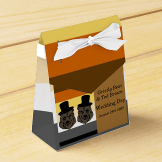 くまのプライドは金ゴールドの陽気な結婚式の引き出物箱に耐えます フェイバーボックス