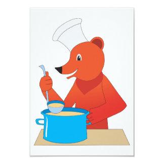くまの料理スープ招待状 カード