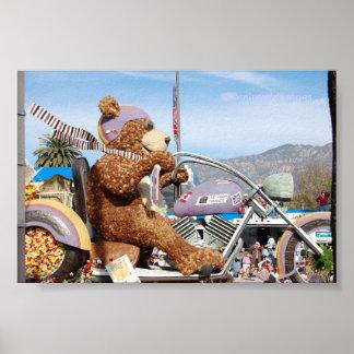 くまの浮遊物のばら色パレードパサデナの支配的なイメージ ポスター